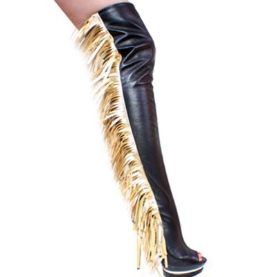 3307 Thigh High Black And Gold